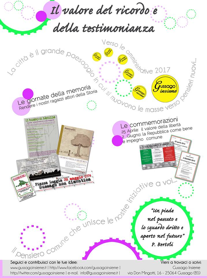 Verso amministrative 2017: ricordo e testimonianza